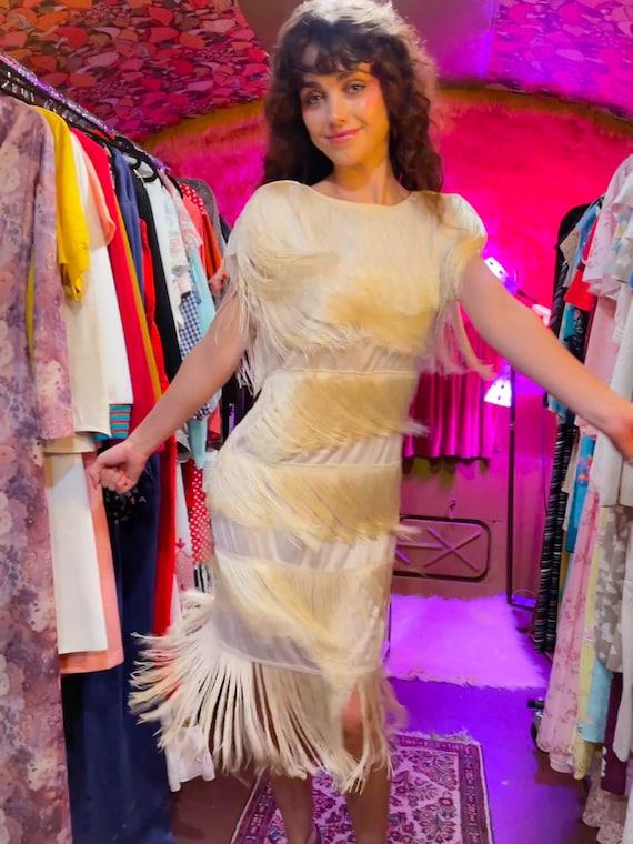 Vintage 1980 - 90's 'Cheryl Kaye White Fringe Party Dress or Wedding Dress