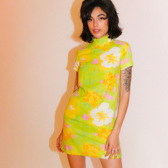 Vintage Mod 1960's Summer Green and Pink Floral Mini Dress