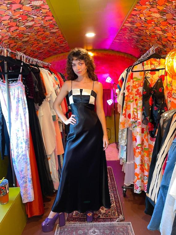 Vintage Y2K 'Blondie Nites' Black and White Checker Goth Prom Dress