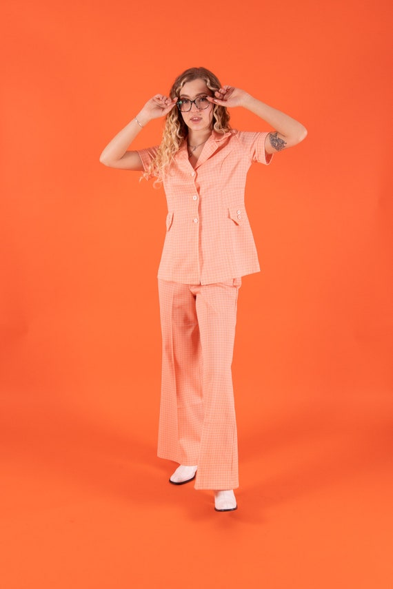 Vintage 1970' Peach and White Checker High Waisted Pant and Blouse Matching Set
