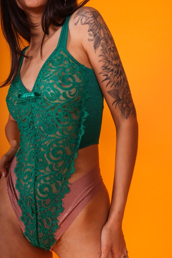 Vintage 'Shirley of Hollywood' Emerald Green Detailed Sheer Lace Thong Bodysuit | Cut High | Very Sexy and Rare Color
