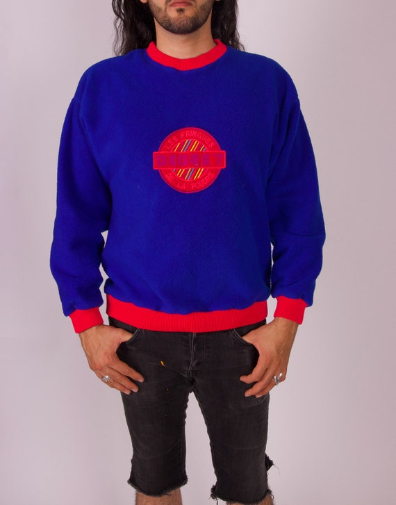 Vintage Unisex 'DEGRE 7' Royal Blue Fleece and Neon Color Patch Pull Over Sweatshirt