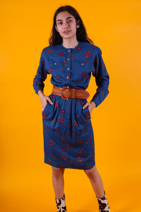 Vintage 90's 'Liz Claiborne' Blue Southwest Western Dress | Colorful Pattern | Cowgirl | Boho Chic