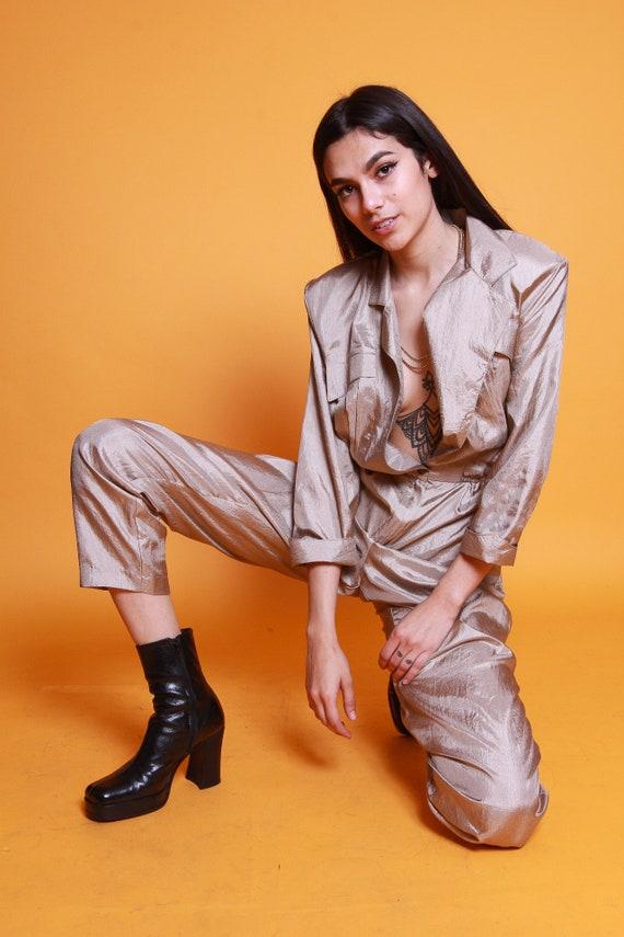 Vintage 'Sandy Sandy' Made in California Metallic Goldem Beige Jumpsuit | Pantsuit | One Piece | Boss B | Sexy