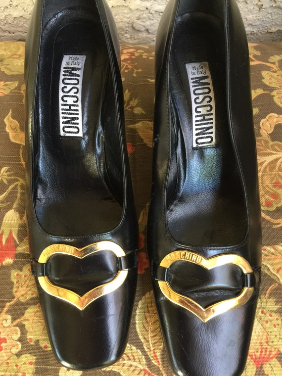 "Vintage Authentic ""MOSCHINO' Black LEather Pumps 