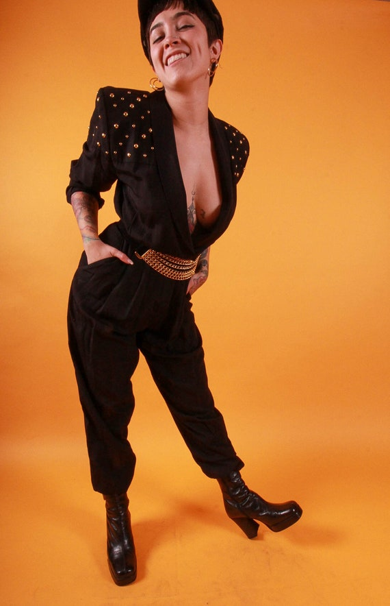 Vintage Black Jumpsuit W/ Gold Studded Shoulders   One Piece   Catsuit   Avant Garde   Goth   Janet Jackson