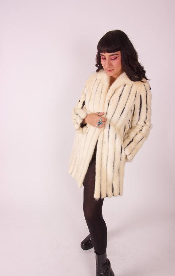 Vintage I.MAGNIN White Mink Fur Coat | Black Leather Stripes | Winter Coat | Costume | Avant Grade | Unique