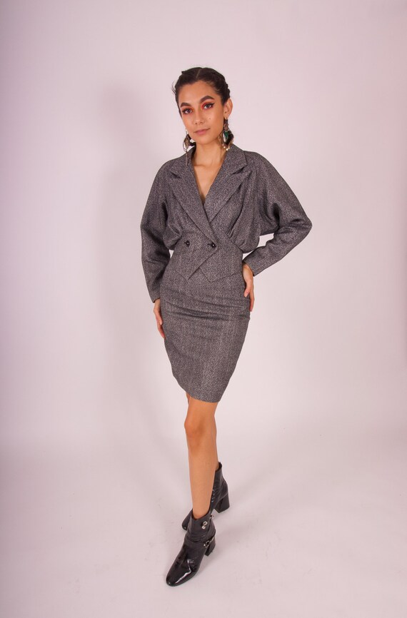 Vintage 90's 'CONTEMPO' Two Piece Black and White Tweed Peplum Jacket and High Waisted Skirt