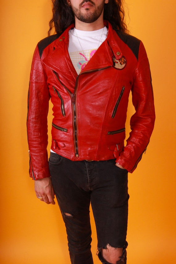 Vintage Men's Buttery Red and Black Leather Motorcycle Jacket | St Bernard Patch | Fitted and Sexy