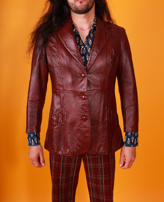 Vintage 1970's 'Mickey Co' Men's Burgundy Wine Leather Jacket | Disco Babe | Textured Detail | Sexy