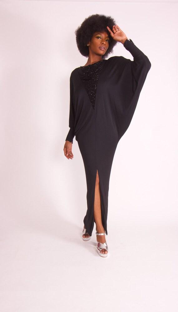 Vintage Avant Garde 'Tony Chase' Black Dolma Sleeve Formal Backless Dress
