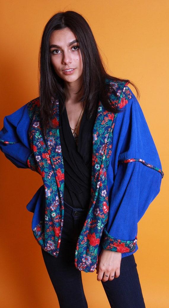 Vintage Unisex Micro Corduroy Royal Blue and Orange Floral Patchwork Jacket   Boho   Festival   Hippie   Fun