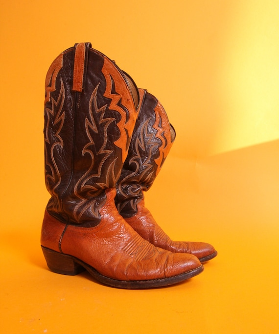 Vintage 'Dan Post' Two Tone Brown Leather Cowboy Boot | Western | Cowboy | Boho | Festival