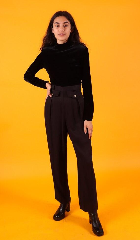 Vintage Black Velvet Turtleneck and Trouser Jumpsuit | One Piece | Boss | Professional | Minimalist
