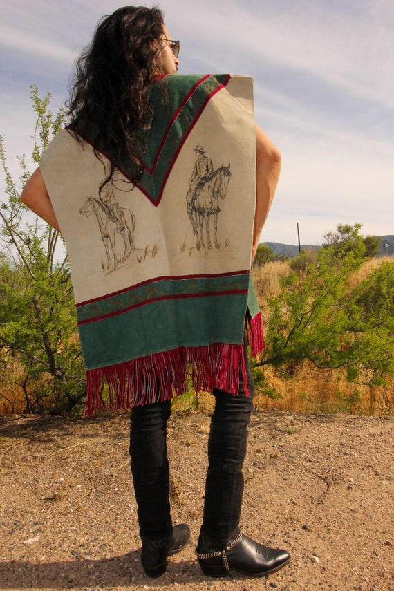 Vintage 'Bad Leather' Wild West Cowboy Unisex Suede Poncho | Mexican | Horse | Green and Maroon | Fringe | Festival