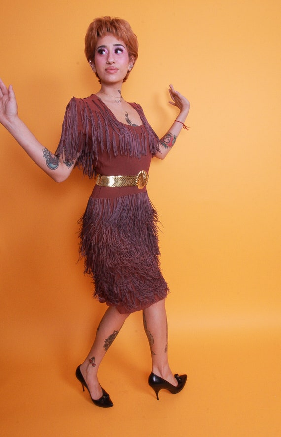 Vintage 1940's Mauve Purple Fringe Dress | Flapper | Burlesque | Pin Up | Tassels