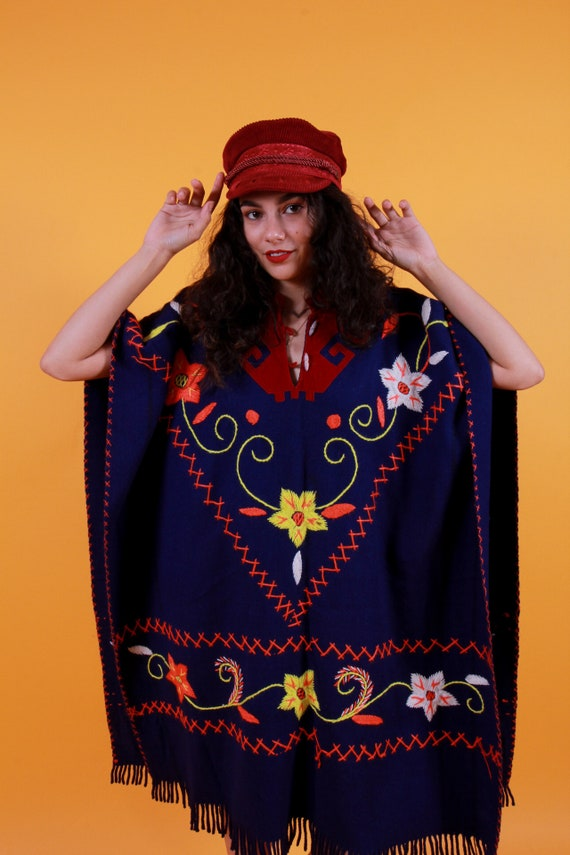 Vintage Unisex Guatemalan Embroidered Fringe Poncho | Floral | Navy Blue | Bohemian | Festival | Long
