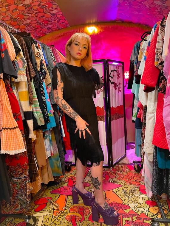 Vintage 'HW Collection' Black Fringe Flapper Party Dress