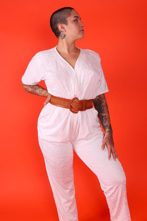 Vintage 90's 'New Looks California' White Textured Summer Jumpsuit