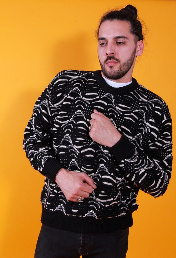 Vintage Authentic 90's 'COOGI' Black and White Knit Pull Over Sweater | Fresh Prince | Hip Hop | Festival
