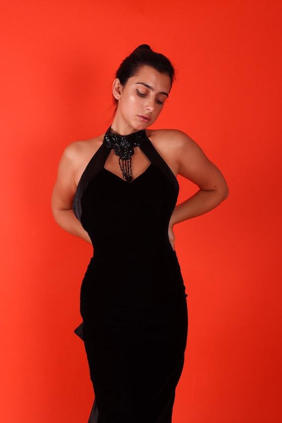 Vintage 'Loralie' Black Velvet Mermaid Gown W/ Beaded Choker Detail