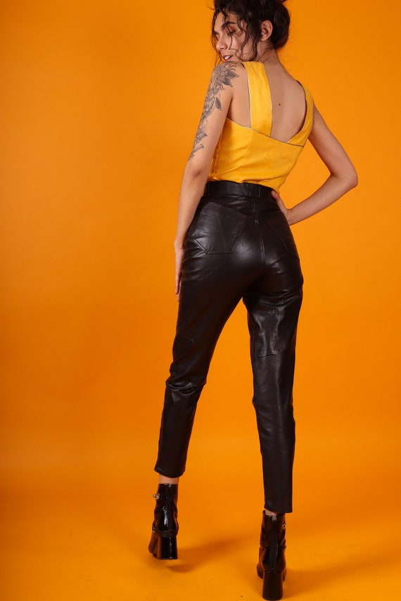 Vintage 'Wilsons' High Waisted Skinny Leather Biker Pants W/ Ankle Zipper | Goth | Sexy | Avant Garde