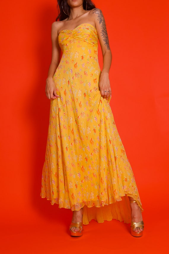 Vintage Strapless Sweetheart Flowing Floral Yellow Romantic Dress