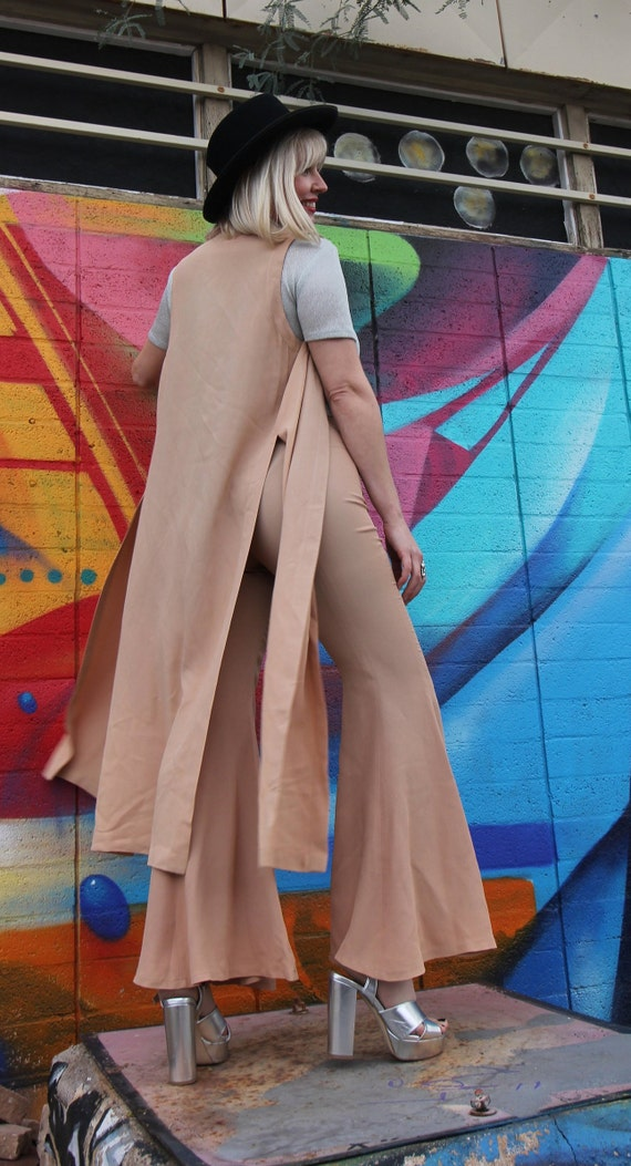 Vintage Rare Nude 'ABS USA' Bell Bottom Set | High Waisted Pants | Duster Jacket | Large Bells | Festival | Boho