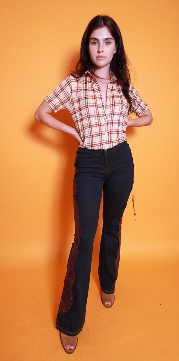 Vintage 'Viva You USA' Lowrise Country Girl Stretch Flared Jeans | Western | Brown Suede | Sexy