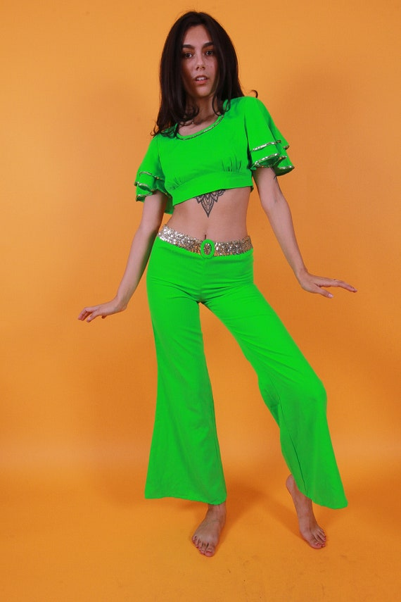 Vintage 1960's Neon Green Mod Wiggle Go Go Set | Ruffled Crop Top and Matching Lowrise Pants | Metallic Silver Sequins