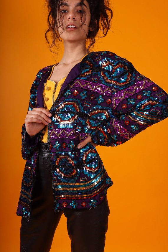 Vintage Southwestern Rainbow Sequin Jacket | Oversized | Formal and Fun | Unique | Colorful
