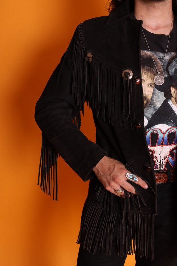 Vintage Unisex Black Suede Fringe Western Jacket | Easy Rider | Biker | Country | Leather