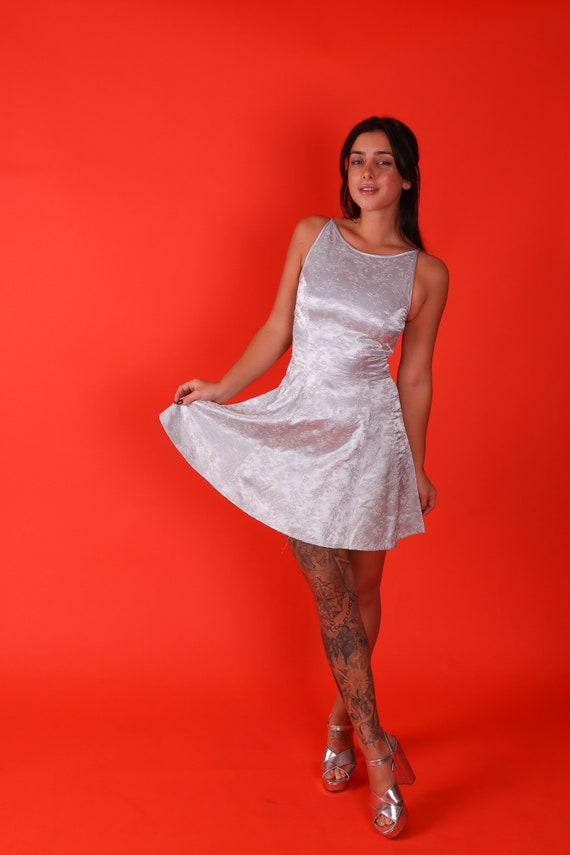 Vintage 'Jessica McClintock for Gunne Sax' 90's Fun and Flirty Silver Ice Blue Mini Metallic Babydoll Dress