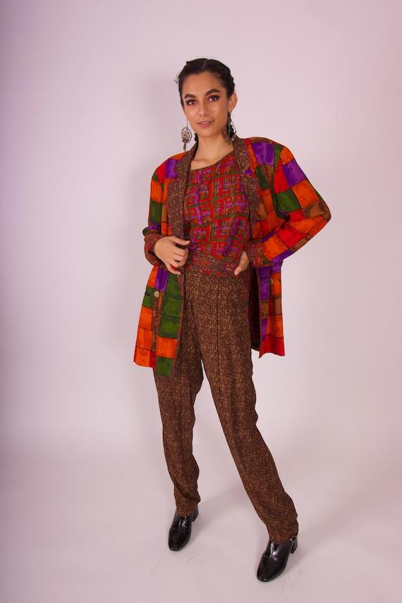 Vintage 90's 'Platinum' Fall Three Piece Colorful Suit Set