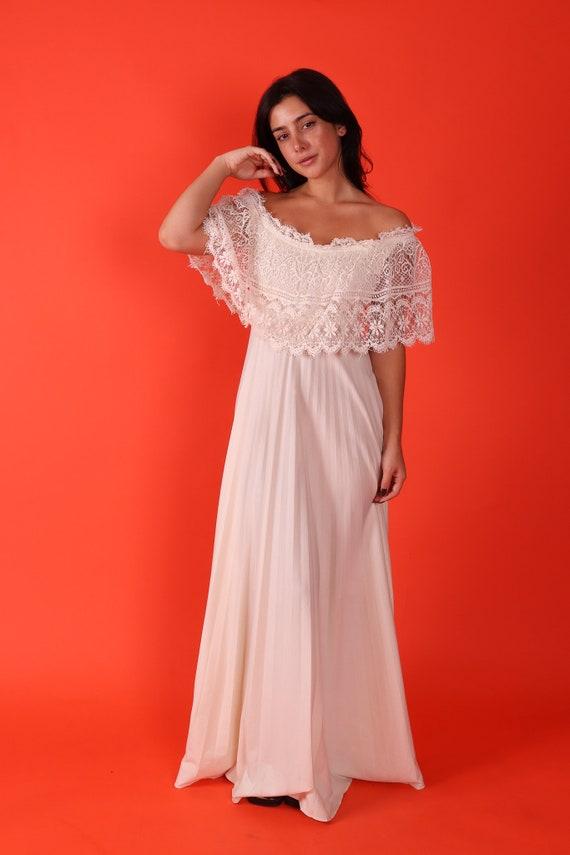 Vintage 1970's Cream White Off The Shoulder Lace Hippie Dress