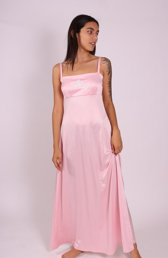 Vintage 1970's Disco Bubble Gum Pink W/ Butterfly Detail Summer Dress