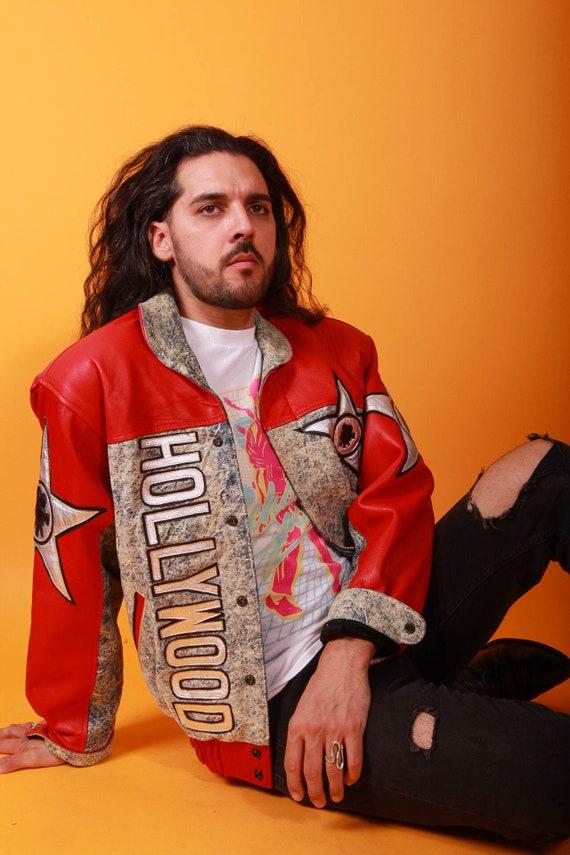 Vintage Unisex 'HOLLYWOOD' Red Leather and Acid Wash Jean Bomber Jacket | Celebrity | Festival | Americano