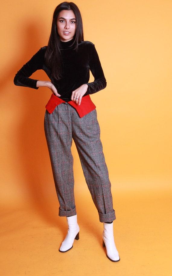 Vintage Sutendal's Rare Plaid Trouser Pant | Black and White W/ Red Detail Trouser | Avant Garde | Unique
