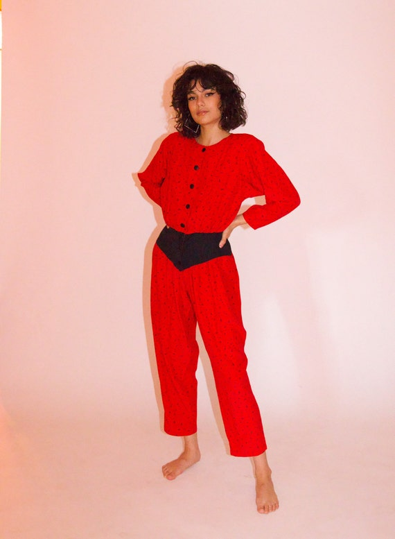 Vintage Fun Funky 80's Red and Black Jumpsuit