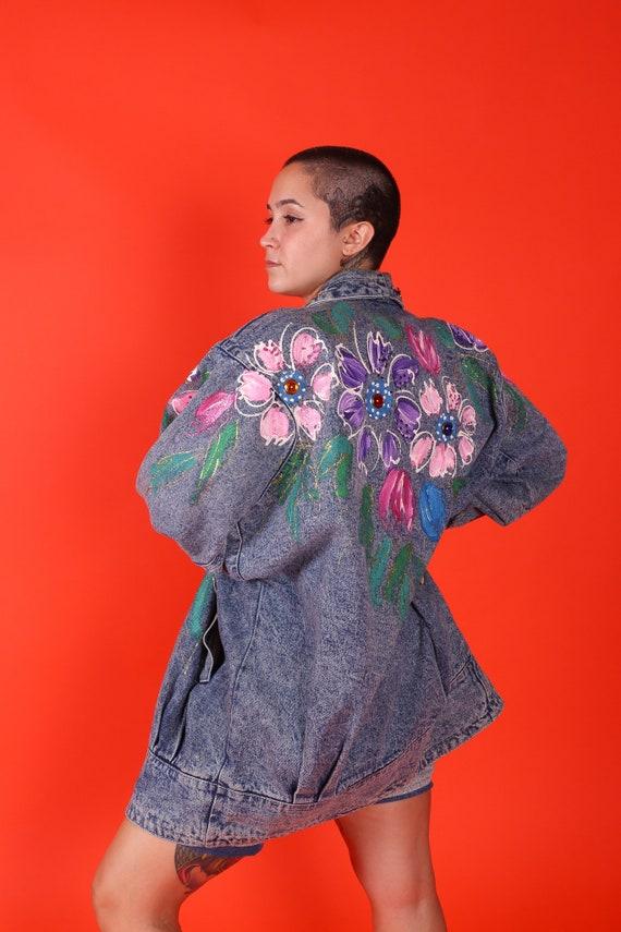 Vintage 90's Oversized Glitter Puff Paint Flower Jean Jacket