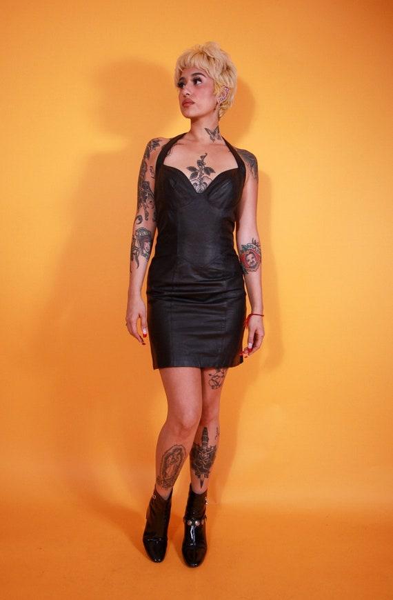 Vintage Wilsons Black Leather Biker Halter Dress | Sexy | Goth | Avant Garde | Mini Dress