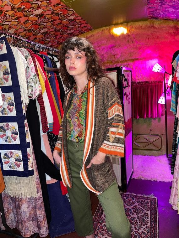 Vintage 1970's 'Le Roy' Natural Aztec Boho Sweater