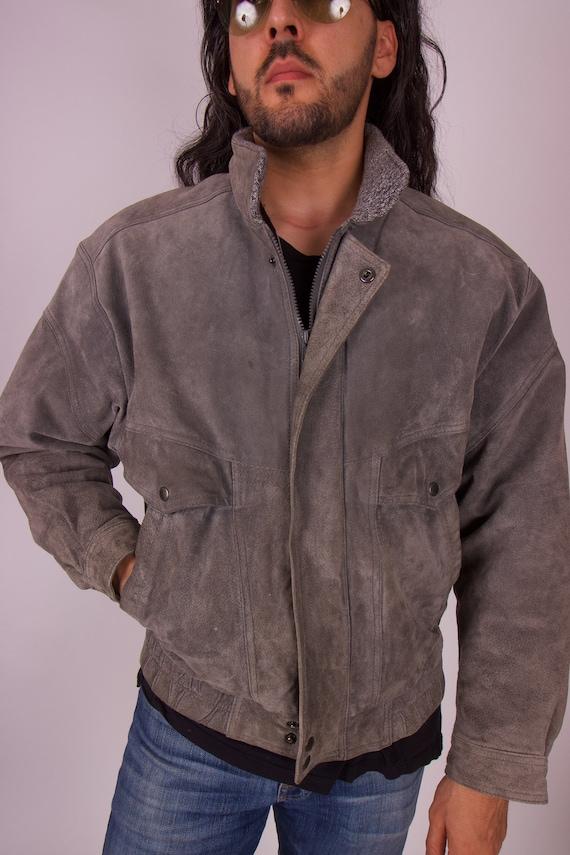 Vintage 'MEMBERS ONLY' Grey Suede Americano Bomber Jacket
