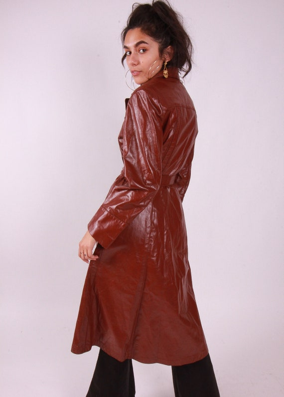 Vintage 1970's 'Cosanova' Auburn Brown Leather Trench Coat   Disco   Badass
