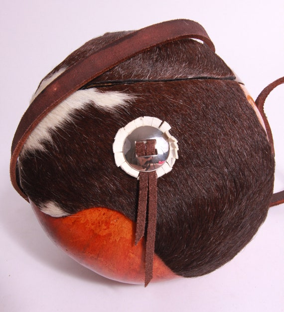 Vintage Unique Coconut and Pony Hair Purse | Crossbody | Long Purse | Round Purse