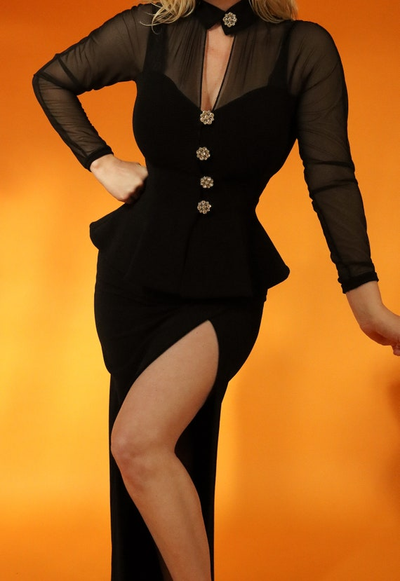 Vintage 'Lillie Rubin' Black Sexy High Waisted Skirt and Peplum Sheer Sleeve Jacket | Set | Pin Up | Burlesque | Chocker