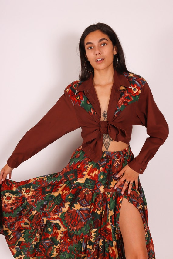 Vintage 'Desert West' Southwestern Two-Piece Matching High Waisted Skirt and Blouse