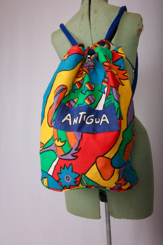 Vintage Antigua Fun Colorful Backpack | Rainbow | Fishes | Festival | Boho | Tropical