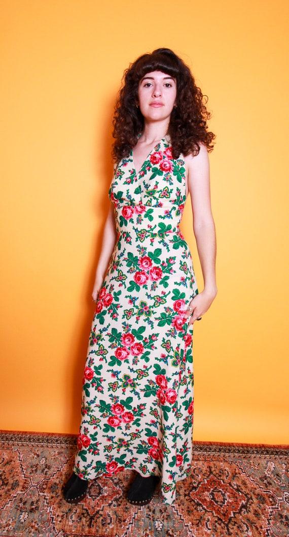 Vintage 1960's - 1970's 'Madame Damska' Cream Halter Dress W/Vibrant Pink Roses | Made in Warsaw