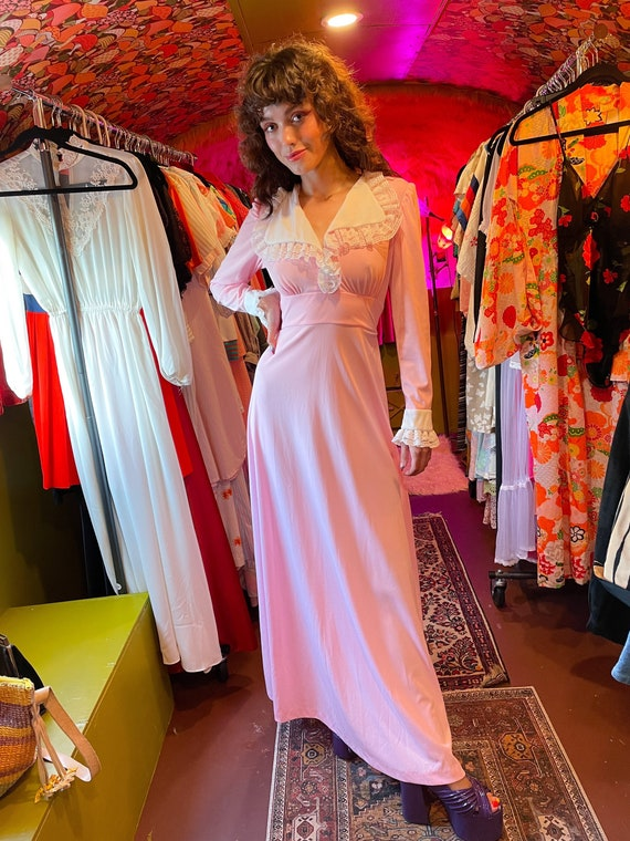 Vintage 1970's Disco Baby Pink W/ White Ruffle Collar and Cuff Dress